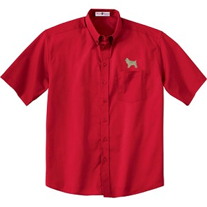 1CM-Cocker Spaniel Buff Men's  Short Sleeve Twill Shirt with Embroidered profile.