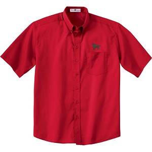 1CM-Flat Coated Retriever Men's  Short Sleeve Twill Shirt with Embroidered profile.