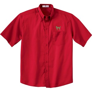 1CM-Chocolate Labradoodle Men's  Short Sleeve Twill Shirt with Embroidered profile.