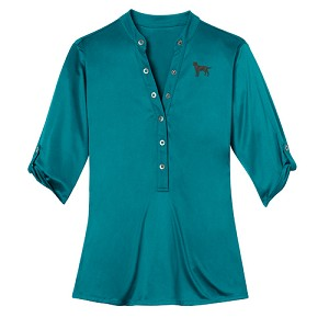 1SL-Ladies Crush Henley Shirt with Embroidered Profile.