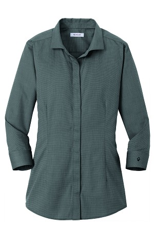 1SL-Ladies 3/4-Sleeve Nailhead Non-Iron Button-Down Shirt with Embroidered Profile.