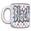 8H-15 oz Polka Dots Ceramic Mug with Your Breeds Name.