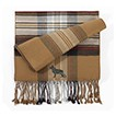 6AM-German Shepherd Black Men's Plaid Bamboo Muffler Scarves with Embroidered profile.