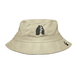 3C-English Springer Spaniel Black Bucket Hat with side zipper with embroidered full profile