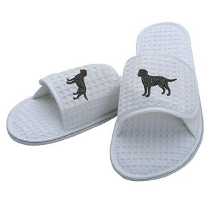 3A-Airedale Terrier Ladies & Men Waffle Weave Slippers with Embroidered profile