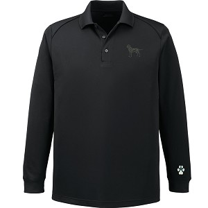 1PL-Men's Long Sleeve Polo with embroidered image.