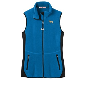 2FL-Pug Fawn Ladies'  Fleece Unlined Vest with Bone Zipper Pull and Embroidered image