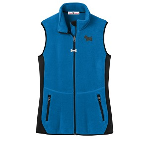 2FL-ScottishTerrier Ladies'  Fleece Unlined Vest with Bone Zipper Pull and Embroidered image