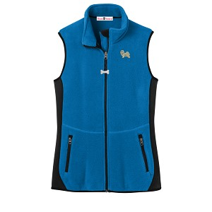 2FL-Havanese Blond Ladies'  Fleece Unlined Vest with Bone Zipper Pull and Embroidered image