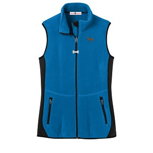 2FL-DachshundBlack & Tan Ladies'  Fleece Unlined Vest with Bone Zipper Pull and Embroidered image