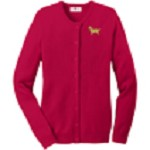 2AN-Golden Retriever Ladies Jewel-Neck Cardigan embroidered with breed profile image.