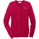 2AN-Great Dane Ladies Jewel-Neck Cardigan embroidered with breed profile image.