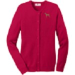 2AN-Vizsla Ladies Jewel-Neck Cardigan embroidered with breed profile image.
