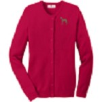 2AN-Greyhound Brindle Ladies Jewel-Neck Cardigan embroidered with breed profile image.