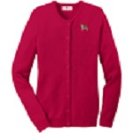2AN-St. Bernard Ladies Jewel-Neck Cardigan embroidered with breed profile image.