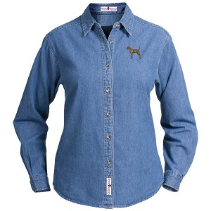 1SM-Ladies Denim Shirt Embroidered with Your Breed.