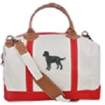 4AL-Coonhound Black & Tan Heavy Canvas Overnight Bag with Leather Handles Zippered Tote Bag.